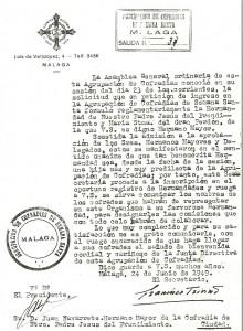 1949. Admisión Agrupación de Cofradías