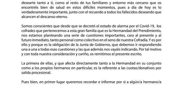 Comunicado oficial en base al acuerdo de Junta de Gobierno referente a los donativos de salida procesional